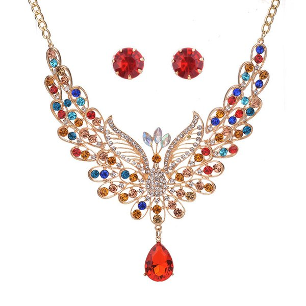 6 Colors Sparkling Peacock Necklace Earring Sets - Retro Royal Style Women Luxury Jewelry Necklaces Set For Wedding Bridal