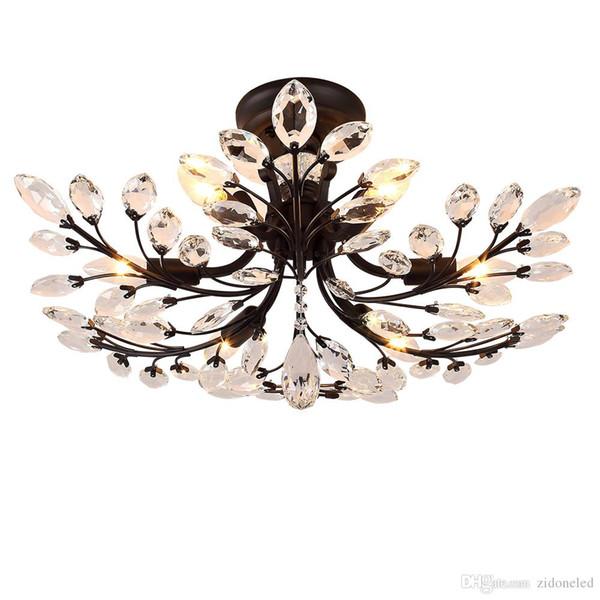 Village américain led lustres luminaires fer cristal plafonnier 6 têtes lustre noir éclairage intérieur