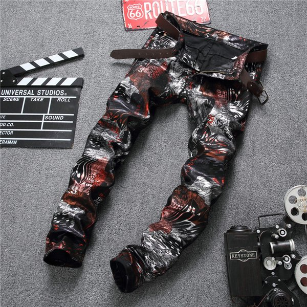 Europe and American Style Casual Denim Pants Fashion Men Straight Jeans with Painted Printed Jeans Hip Hop Nightclub