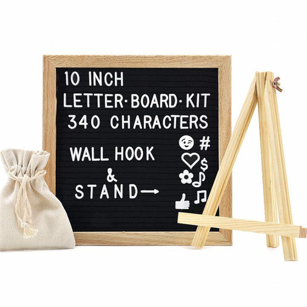"best selling Black Felt Letter Board 10""x10"" with 340 Characters Free Craft Knife and Pouch for Home Office Business Events and Social Media Oak Frame"