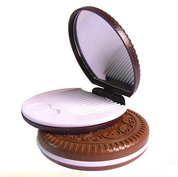 AddFavor Cocoa Cookies Mirror Makeup Mirrors with Comb,Unique Cheap Sandwich Chocolate Cosmetic Compact Mirrors Makeup Tools