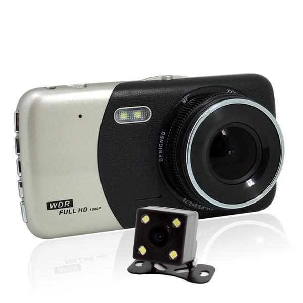 Dual traço Cam 1080 P HD Dual Canal DVR Carro Dianteiro e Traseiro, Gravador de Vídeo de Condução com 4.0 polegadas, G-Sensor, Motion Detect, WDR, modo de Estacionamento