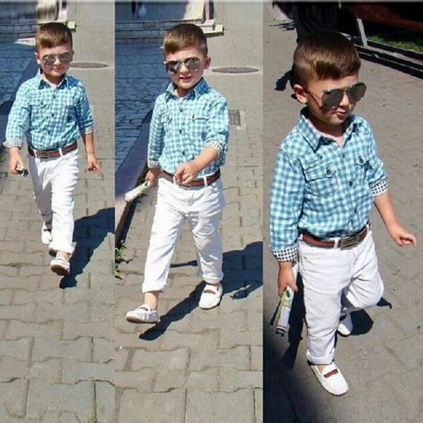 Toddler Baby Boys clothes set kids loose-fitting cotton plaid shirt+ pants+ belt 3 pcs minion kids clothing set