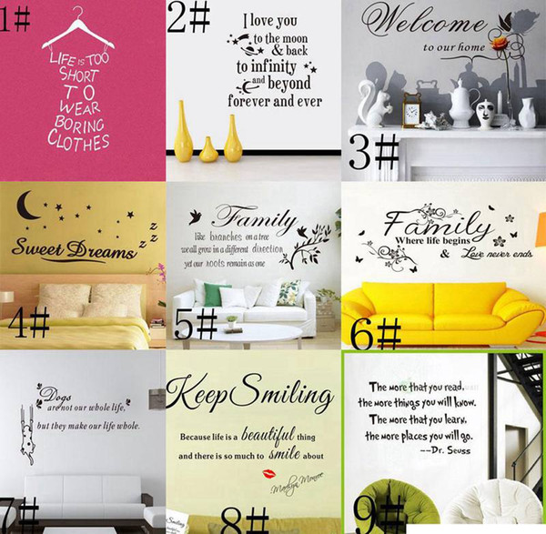 top popular Mixed order 200 Styles Quotes Wall Stickers Decal Words Lettering Saying Wall Decor Sticker Vinyl Wallpaper Art Stickers Decals 2021