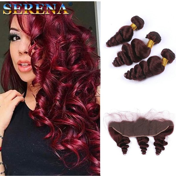 Virgin Peruvian Wine Red Human Hair Lace Frontal Closure 13x4 Free Three Part Loose Wave #99J Burgundy Full Lace Frontals With Bundles
