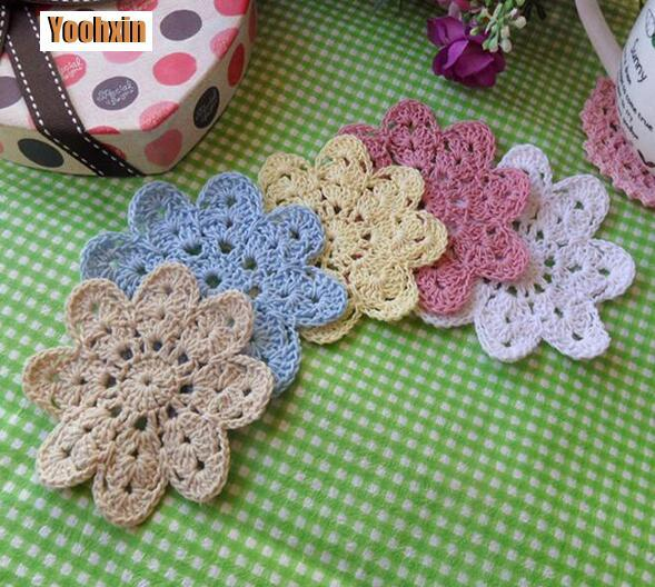 Modern Lace cotton placemat cup dish coaster mug holder dining kitchen table place mat cloth round Crochet doilies drink pad