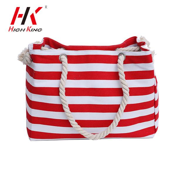 HIGHKING Women Travel Shopping Полосатый холст Сумка Летние пляжные  наплечные сумки Большая сумка для мессенджеров HK071 8cab51071c9