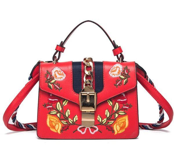 Luxury Italy Brand Embroidered Flowers Female Shoulder Bag Contrast Color Metal Decoration Female Handbag Messenger Bag Small Square bags