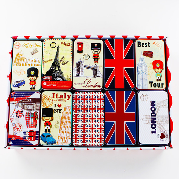 London Style Picture Tin Storage Box 20Pieces Small Capacity Food Container Mac Makeup Cosmetic Jewelry Box Tea Box Candy Pill Coin Case