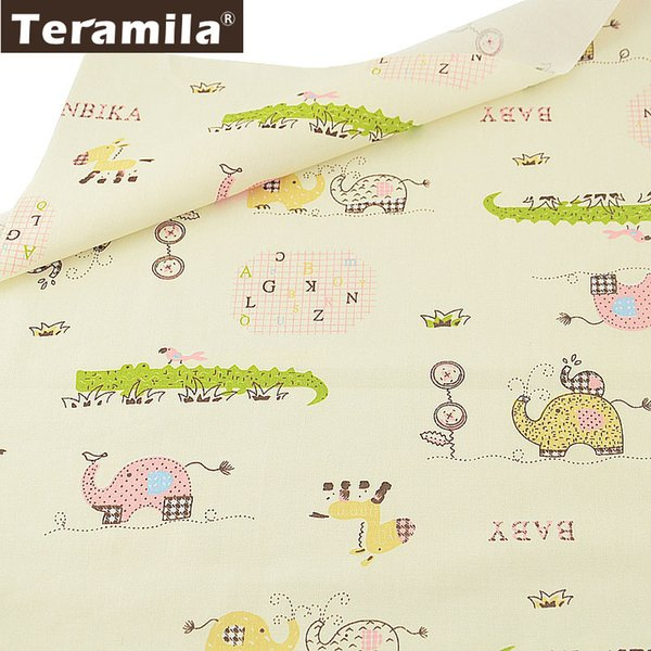 Teramila Baby Fabric 100% Cotton Cartoon Animals Style Beige Twill Sewing Material Bed Sheet DIY Textile Scrapbooking Tissu