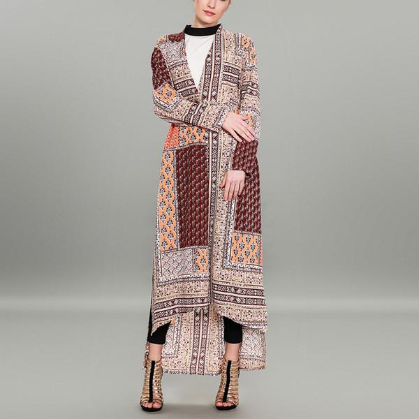 Vintage Kadın Artı Boyutu Maxi Dış Giyim Retro Baskılı Asimetrik Giyim Moda Açık Dikiş Elbise Yan Bölünmüş Robe Sashes ile