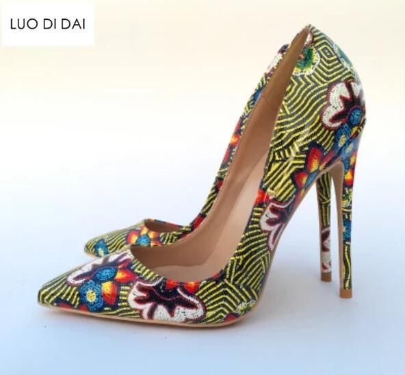 2018 New women print high heels thin heel mix color pumps party shoes rainbow pumps dress shoes Bohemian patent leather pumps