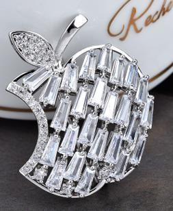 Korean Version New Style Temperament High-grade Apple Crystal Zircon Brooch Pin Personality Pin Female Korean Fashion Accessories