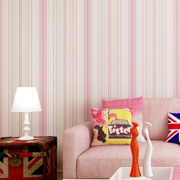 New Kids Rooms Striped Wallpaper Sticker Pink Blue Self Adhesive Mural Non-woven Wallpapers Roll diy Home Decor Wall Paper ZP110