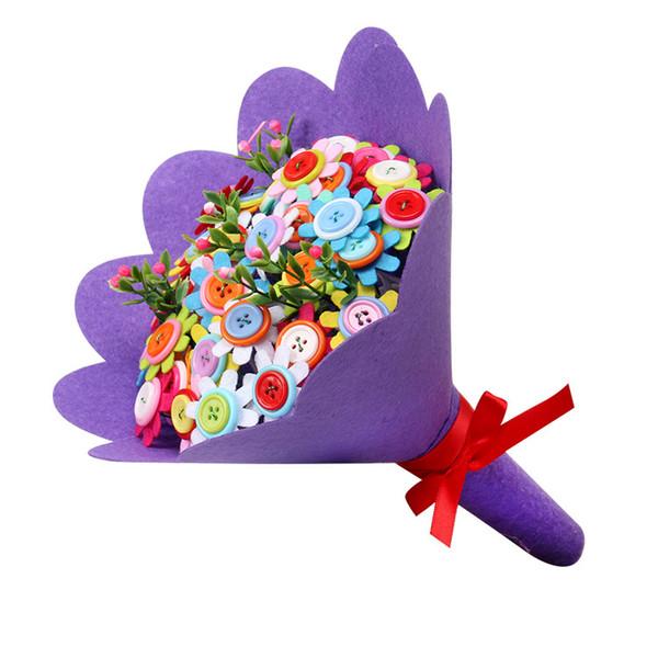 DIY Halten Blumen Thanksgiving Teachers 'Day Neujahr Party Dekorative Geschenk Kinder Handgemachte Spielzeug Knopf Blume Kits Frei wachsenden 12 Modell