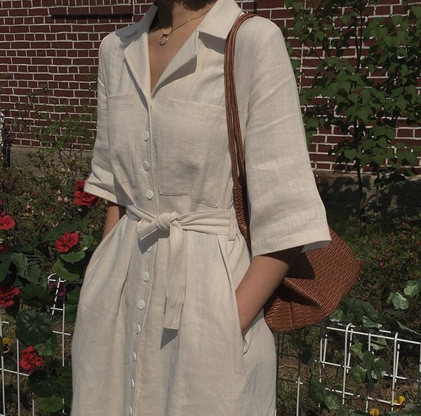 Vintage 80`S Japan Korea Mori Girl V Turndown Patchwork Button Tie Bow Belt Cotton Linen Dress Summer Mid Long Casual Vestidos