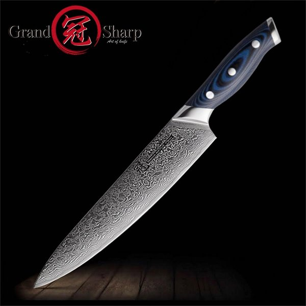 Grandsharp 67 Layers Japanese Damascus Steel Damascus Chef Knife 8 Inch  VG10 Blade Damascus Kitchen Knife G10 Handle PRO Sharpest Kitchen Knives ...