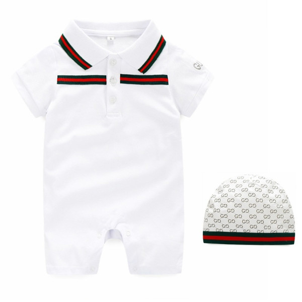 top popular High Quality Pure Cotton Baby Clothes Summer Boy Girl 0-3 Month Newborn Soft Short Sleeve Jumpsuits Lapel Overalls Children 2020