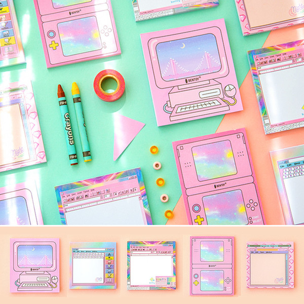 Kawaii Stationery Computer Style Scratchpad Girls Pink Sticky Notes Portable Word Notepad Cute Memo Pad