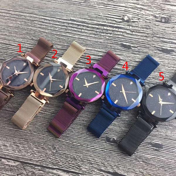 2018 vente chaude violet / bleu / noir / or / marron femmes magnétiques montre mode luxe en acier célèbre conception montre avec ciel étoilé cadran