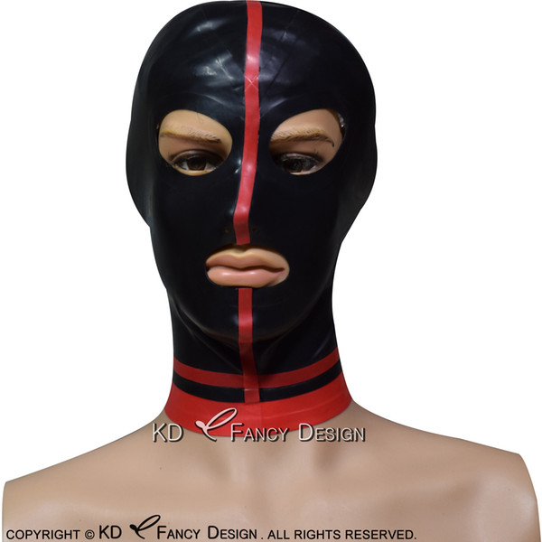 Black Sexy Latex Hood With Red Stripes In Middel Rubber Mask Plus Size TT-0199