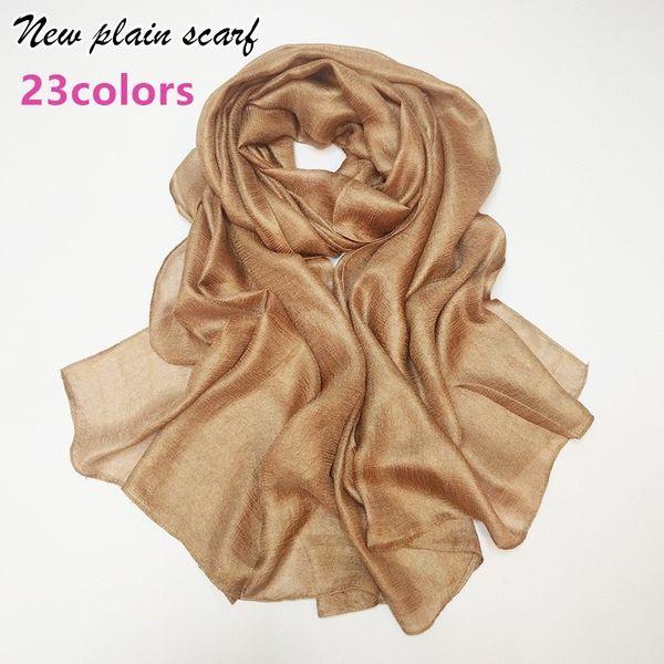 Luxury Women plain scarf/scarves fashion silklike cosy muslim head scarfs hijab big size echarpe wraps muffler hot sale S18101904