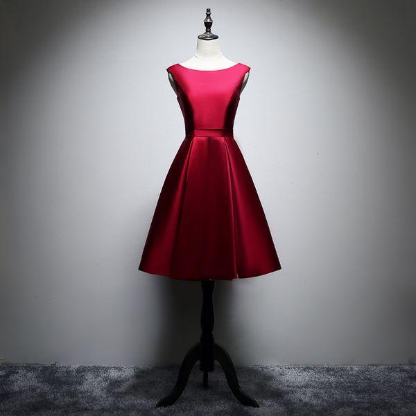 Burgundy Pink Satin Short Bridesmaids Dresses 2019 Knee Length Party Dress Lace Up Formal Dresses 100% Real Photo