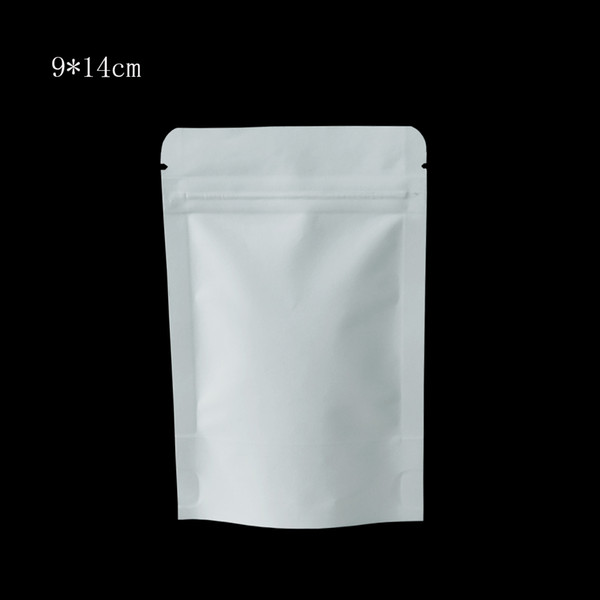 9*14cm White Stand Up Zipper Kraft Paper Packaging Bags Aluminum Foil Packing Bags Snack Food Nuts Food Storage Pouch 50Pcs/Lot