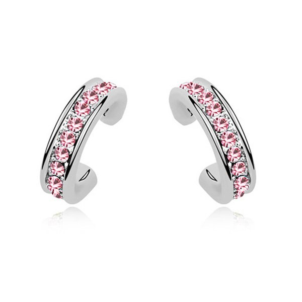 Fashion Small Stud Earings For Girls White Gold Plated Ladies Jewellery Earings Made with Swarovski Elements Crystal Best Christmas Gift