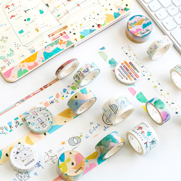 10 pcs/lot DIY Japanese Paper Washi Masking Tapes Message series Decorative Adhesive Tapes Stickers Kawaii Cute Stationery 2016