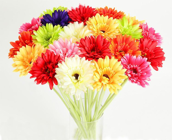 New Gerbera Fake Silk Flowers Artificial Flower 9 Colors Colorful for Birthday wedding Party Home Decoration 30pcs