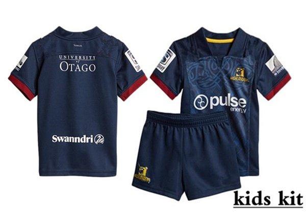 2019 Nova Zelândia Highlanders Crusaders Blues crianças Super Rugby Jerseys Chiefs Jersey Highlanders criança kit camisas tamanho 18-28 (pode imprimir)
