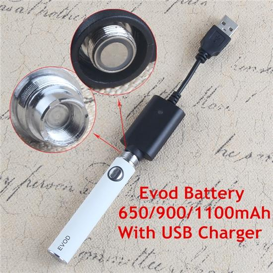 Evod Battery 650 900 1100mAh Ecigarette 510 Thread Ego T Batteries With USB Charger Cable for MT3 Mini Pro tank Atomizer Vape Starter Kit