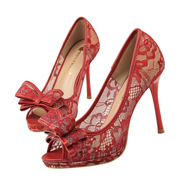 Bowknot Spitze Peep Toe Lady Kleid Schuhe Frauen Heels Pumps Festival Party Hochzeit Schuhe Heels formale Pumps Stiletto High Heels GWS542