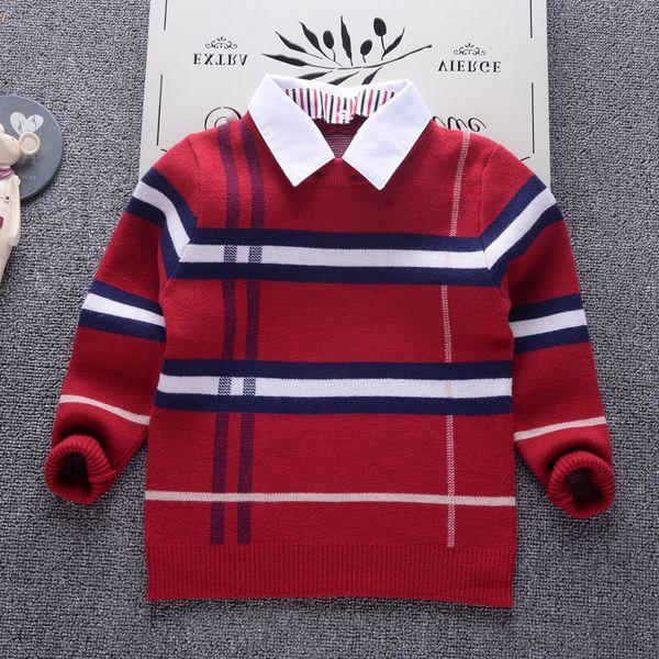 2019 Collo della camicia Ragazzo Maglioni Bambino striscia classico Plaid Pullover Knit Abbigliamento per bambini Autunno Inverno Nuovi bambini Maglione Abbigliamento