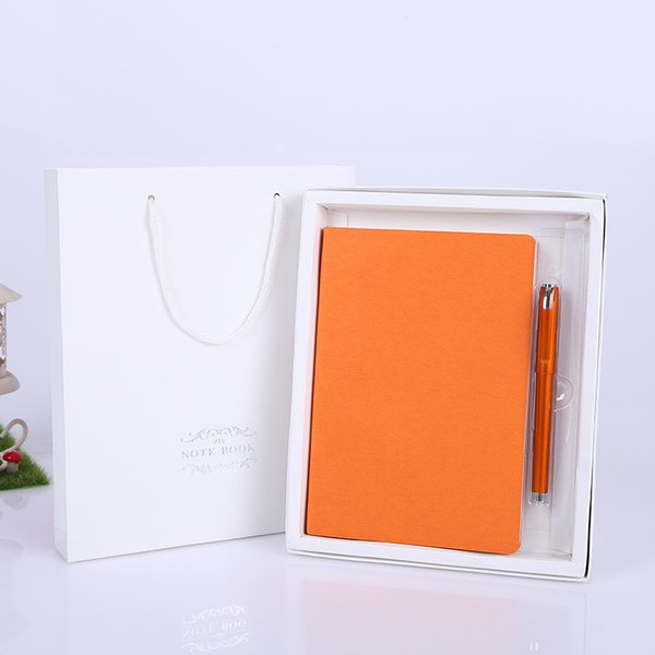 Customized Business Notebook Students Studying Notebook A5 Imitation Leather Jotter Creative Gift Sets Notebook Gel Pen