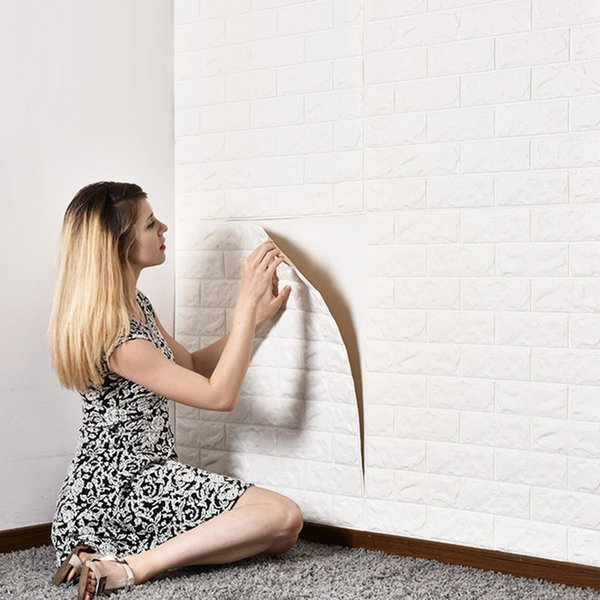 70*15 cm Foam 3D Wall Stickers Safty Home Decor Wallpaper DIY Wall Decor Brick Living Room Kids Bedroom Decorative Sticker 1PCS