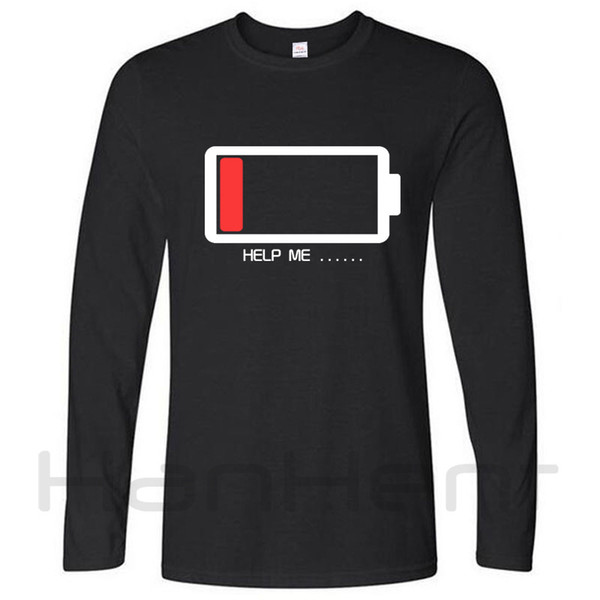 Men T-Shirt Funny Help Me Energy Low T Shirts Male Battery Long Sleeve O -Neck Loose Tshirt Basic Brand Clothing Man