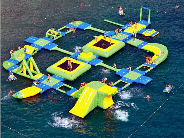 super large floating inflatable water park Swimming Pool Floating Water Obstacle Games Water Float Equipme 0.6 mm pvc tarpaulin material