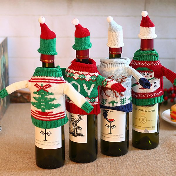 Sacchetto della copertura del vino rosso sacchetti Babbo natale pupazzo di neve renna albero di natale maglione lavorato a maglia ornamento di natale partito decorazione tavolo dinnter HH7-1415