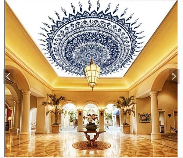3d papier peint personnalisé photo plafond mural papier peint classique orné de style européen texture bleu et blanc porcelaine zénith plafond mural