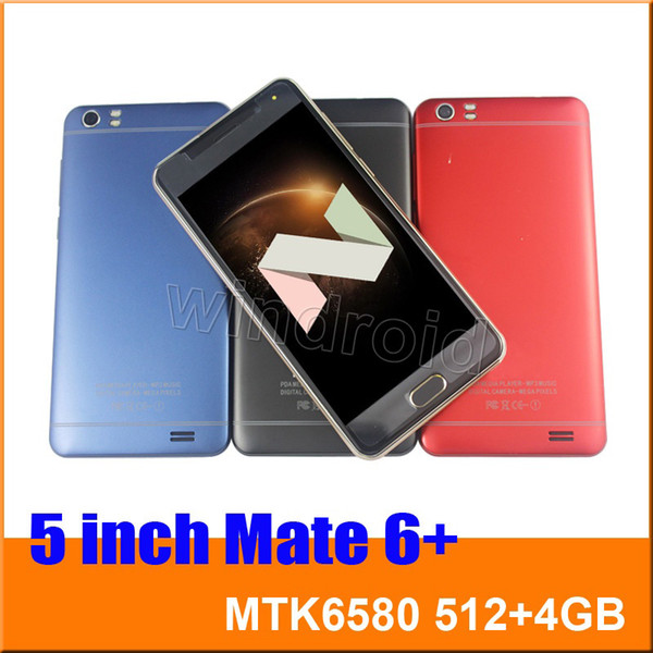 "5"" Quad Core 3G smart phone MTK6580 512 4GB Android 7.0 540*960 Dual SIM camera 5MP WCDMA Unlocked gesture wake mobile Mate 6 Cheapest 50pcs"