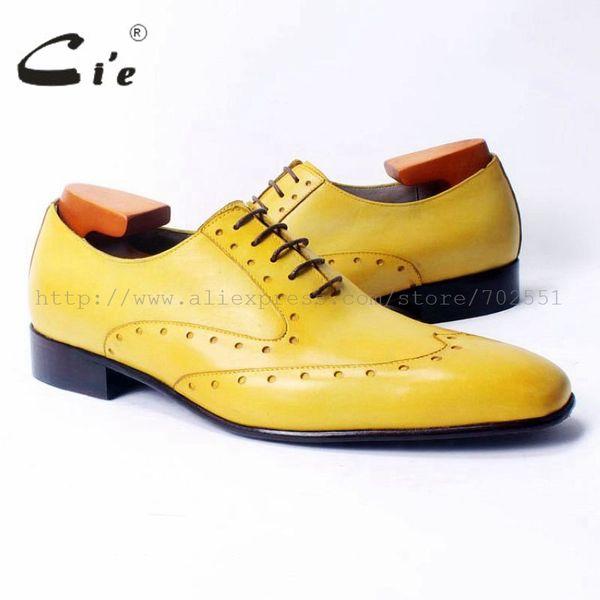 Cie kare ayak laceup karışık renkler oxfords parlak sarı saf hakiki dana deri erkek rahat ayakkabı nefes handmadeOX311