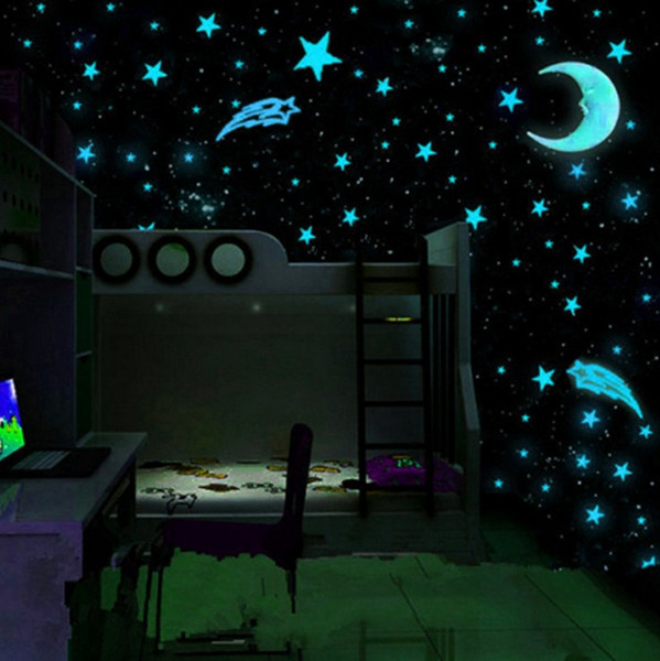 hot style 80pcs/set plastic wall stickers luminous stars glow in the dark blue 3cm room decal wall decor