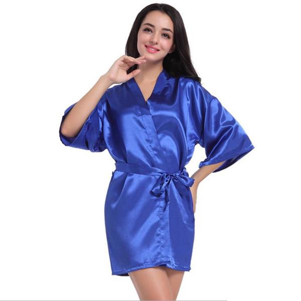 fa498c9b74 Plus Size Solid Kimono Robe Sleepwear Bride Robe 2018 New Chinese Kimono Dressing  Gowns For Women Home Bridesmaid D202
