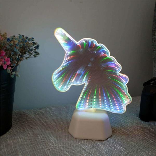 Cute Novelty Light Cactus Shape 3D LED Tunnel Lamp Infinity Mirror Night Lamp Indoor Decor Atmosphere Lighting Luminaria Unicorn Led