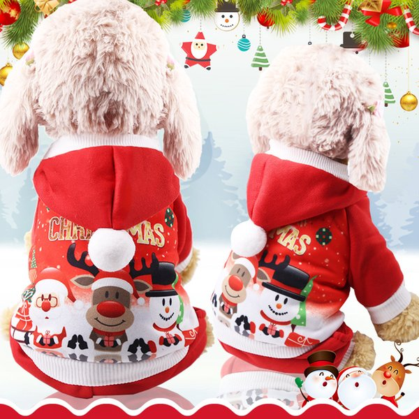 Christmas Pet Dog Sweater Clothes Teddy Xmas Santa Reindeer Hoodie holiday Costume Hooded Coat Clothing Suit Cute Puppy Outfit Dogs AAA1304