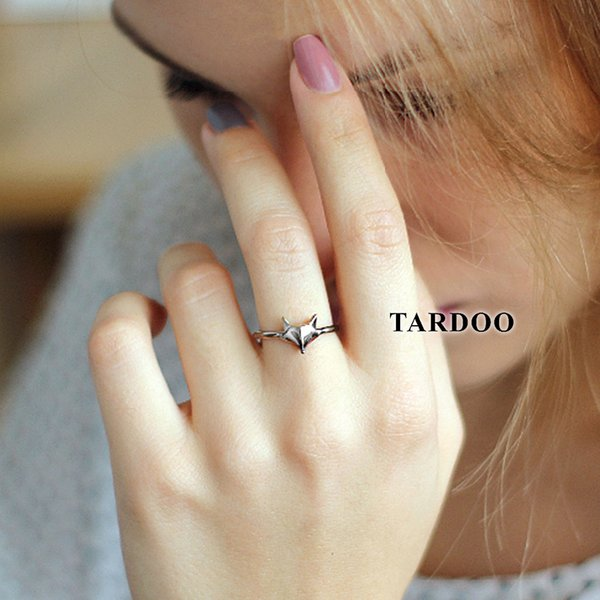 Tardoo Fox's Head Rings 925 Silver Cute Fox Ring Fashion Jewelry For Women Simple Lovely Animal Fox Face Party Cuff Rings Y18102510