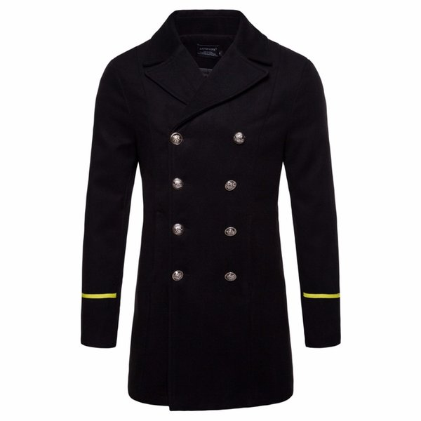 2018 Winter Wool Jacket Coat Men black New Trench Coat Long Sections Double Breasted Woolen Coats Fashion Jackets Male Overcoat