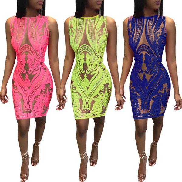 Compre Chegada Nova Rosa Amarelo Azul Brilho Lantejoula Tecido Clube Vestido Sheer Ver Embora Sexo Xxx Clubwear Mini Vestido De Honeyclub 2212